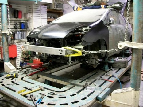 Toyota Prius damaged getting fixed